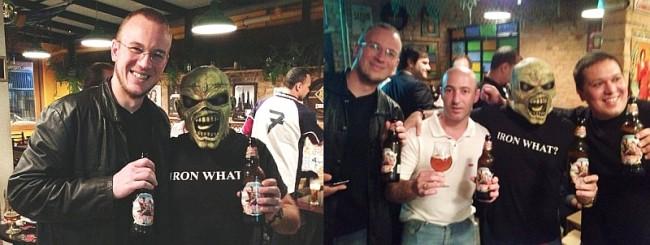 Cerveja do Iron Maiden: além do Eddie (André Clemente), diversas presenças ilustres, como Edu Passarelli (direita) e Robson Grespan, responsável pela compra de cervejas do Pão de Açucar