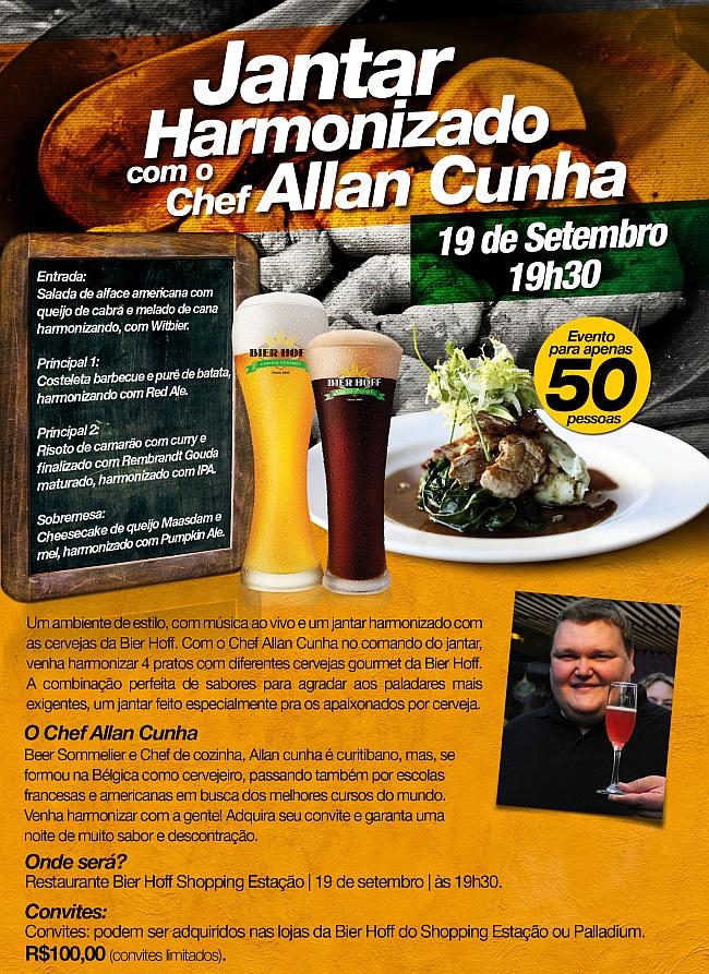 Bier Hoff promove jantar harmonizado com cervejas pelo chef Allan Cunha