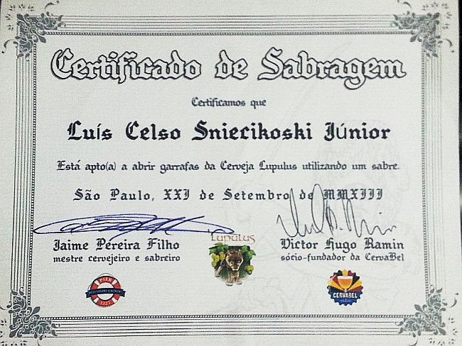 Lupulus: certificado de sabrage de cerveja