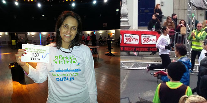 Ester na corrida de St Patrick´s Day, em Dublin, Irlanda