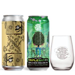 Cervejas UX Brew Nuts e Satélite TripleSat com copo